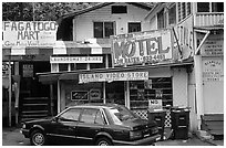 Slightly seedy area of downtown Fagatogo. Pago Pago, Tutuila, American Samoa ( black and white)