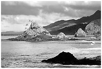 Rocky shore near Maa Kamela. Tutuila, American Samoa (black and white)
