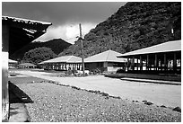 Main street  in Masefau village. Tutuila, American Samoa ( black and white)