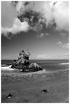 Rocky islet near Maa Kamela. Tutuila, American Samoa ( black and white)