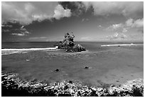 Rocky islet near Maa Kamela. Tutuila, American Samoa (black and white)