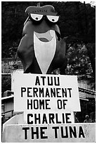 Statue of Charlie the Tuna. One third of the islanders work in tuna can factories.. Pago Pago, Tutuila, American Samoa ( black and white)