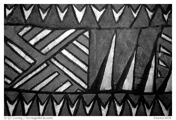 Siapo (bark cloth made from the inner bark of the paper mulberry tree) artwork. Pago Pago, Tutuila, American Samoa (black and white)