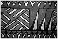 Siapo (bark cloth made from the inner bark of the paper mulberry tree) artwork. Pago Pago, Tutuila, American Samoa ( black and white)