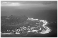 Aerial view of Aanuu island. Aunuu Island, American Samoa (black and white)
