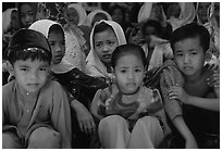 Children of muslim ethnicity. Phnom Penh, Cambodia (black and white)