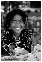 Young incense vendor. Phnom Penh, Cambodia ( black and white)