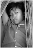 Young kid. Phnom Penh, Cambodia (black and white)