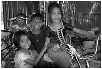 Children at the Apsara Arts  school. Phnom Penh, Cambodia ( black and white)