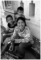 Children at Wat Phnom. Phnom Penh, Cambodia (black and white)