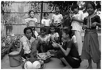 School break. Phnom Penh, Cambodia ( black and white)