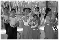 Girls learn traditional dancing at  Apsara Arts  school. Phnom Penh, Cambodia (black and white)