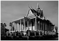 Silver Pagoda, Royal palace. Phnom Penh, Cambodia ( black and white)