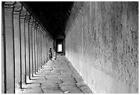 Eterior deambulatory of Angkor Wat, all covered with bas-reliefs. Angkor, Cambodia (black and white)