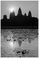 Sunrise, Angkor Wat. Angkor, Cambodia (black and white)
