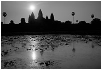 Angkor Wat reflected in pond at sunrise. Angkor, Cambodia ( black and white)