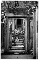 Buddhist monks in the Bayon. Angkor, Cambodia (black and white)