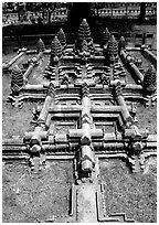 Model of Angkor Wat found in Phnom Phen. Angkor, Cambodia ( black and white)