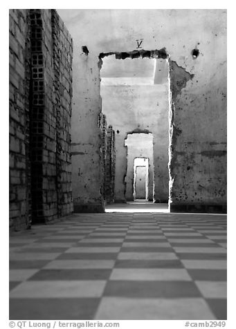 Tuol Sleng Genocide Museum, former school turned  Khmer Rouge detention center. Phnom Penh, Cambodia (black and white)