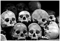 Human Skulls, Choeng Ek Killing Fields memorial. Phnom Penh, Cambodia (black and white)