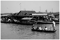 Houses along Tonle Sap river. Cambodia ( black and white)
