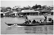 Motor boat along Tonle Sap river. Cambodia ( black and white)