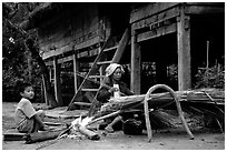 Village life. Mekong river, Laos (black and white)