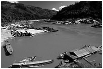 Pakbeng. Mekong river, Laos ( black and white)