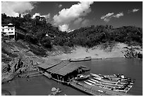 fast boats at Pakbeng. Mekong river, Laos ( black and white)