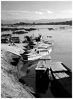 Slow passenger boats in Huay Xai. Mekong river, Laos ( black and white)