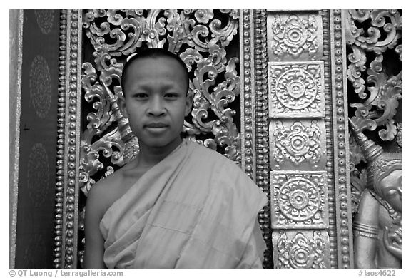 Buddhist novice monk at Wat Xieng Thong. Luang Prabang, Laos (black and white)