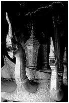 Funeral vehicle at Wat Xieng Thong. Luang Prabang, Laos ( black and white)