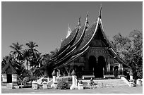 Front of the Sim of Wat Xieng Thong. Luang Prabang, Laos ( black and white)