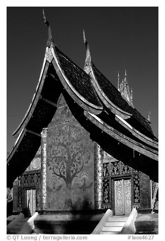 Rear of the Sim of Wat Xieng Thong with mosaic of the tree of life. Luang Prabang, Laos (black and white)