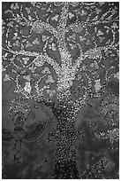 Mosaic of the tree of life on the Sim of Wat Xieng Thong. Luang Prabang, Laos ( black and white)