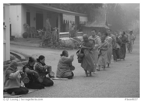 Women line up to offer alm to buddhist monks. Luang Prabang, Laos (black and white)