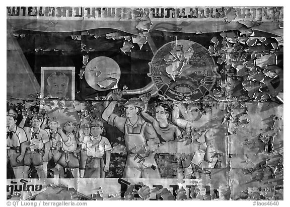 Political propaganda poster. Luang Prabang, Laos (black and white)