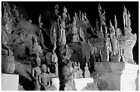 Buddha statues, Tham Ting cave, Pak Ou. Laos ( black and white)