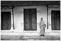 Novice Buddhist monk at Wat Pakkhan. Luang Prabang, Laos ( black and white)