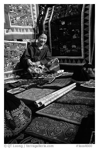 Young woman sells crafts on market. Luang Prabang, Laos (black and white)