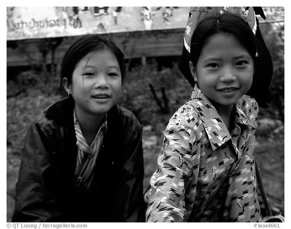 Two young girls at the market. Luang Prabang, Laos (black and white)