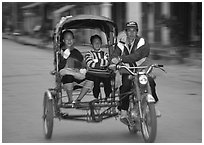 Motorized rickshaw, typical of this area. Luang Prabang, Laos ( black and white)