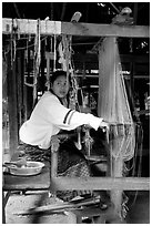 Traditional weaving in Ban Phanom village. Luang Prabang, Laos ( black and white)