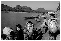 Women on the banks of the Mekong river. Luang Prabang, Laos ( black and white)