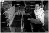 Traditional weaving in Ban Xang Hai village. Laos (black and white)
