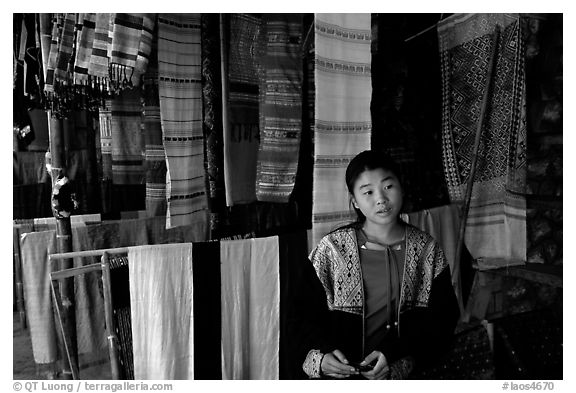 Crafts for sale in Ban Xang Hai village. Laos (black and white)