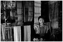 Crafts for sale in Ban Xang Hai village. Laos ( black and white)