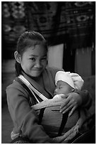 Girl and baby, Ban Xang Hai. Laos ( black and white)