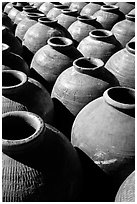 Jars in Ban Xang Hai, which used to be a pottery village. Laos (black and white)
