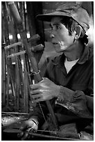 Traditional musician, Ban Xan Hai. Laos ( black and white)